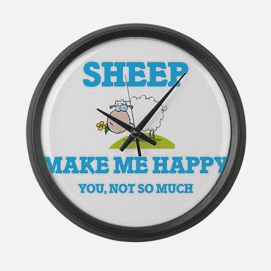 Sheep Make Me Happy Large Wall Clock