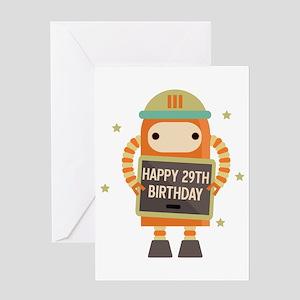 Happy 29th Birthday retro robot Greeting Cards