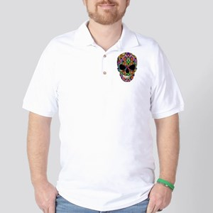 Colorful Fire Skull Golf Shirt