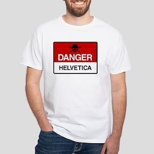 Danger: Helvetica White T-Shirt