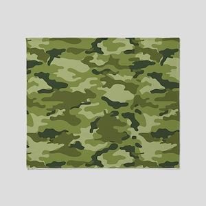 Green Camo Pattern Throw Blanket