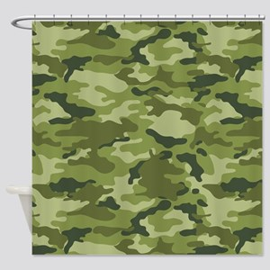 Green Camo Pattern Shower Curtain