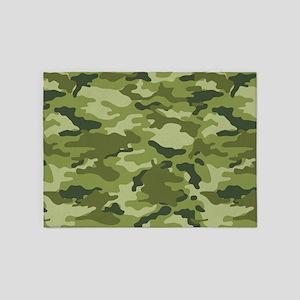 Green Camo Pattern 5'x7'Area Rug