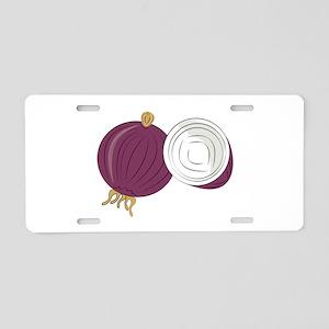 Purple Onion Aluminum License Plate