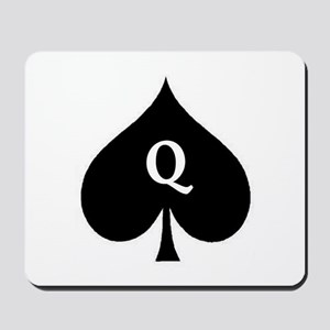 Queen of Spades With Q inside of Logo Mousepad