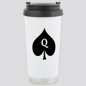 Queen of Spades With Q inside of Logo Travel Mug
