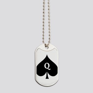 Queen of Spades With Q inside of Logo Dog Tags