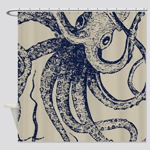 Dark blue Vintage Wood cut Octopus Shower Curtain