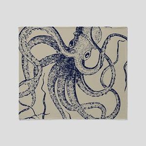 Dark blue Vintage Wood cut Octopus Throw Blanket