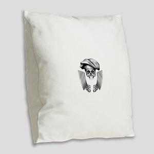 Chef skull: v1 Burlap Throw Pillow