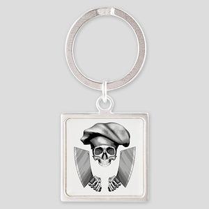 Chef skull: v1 Square Keychain