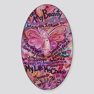 Pink Cancer Angel Sticker (Oval)