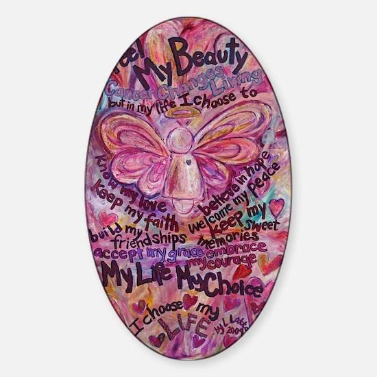 Pink Cancer Angel Sticker (Oval)