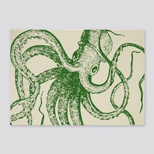 Royal Green Vintage Woodblock print Octopus 5'x7'A