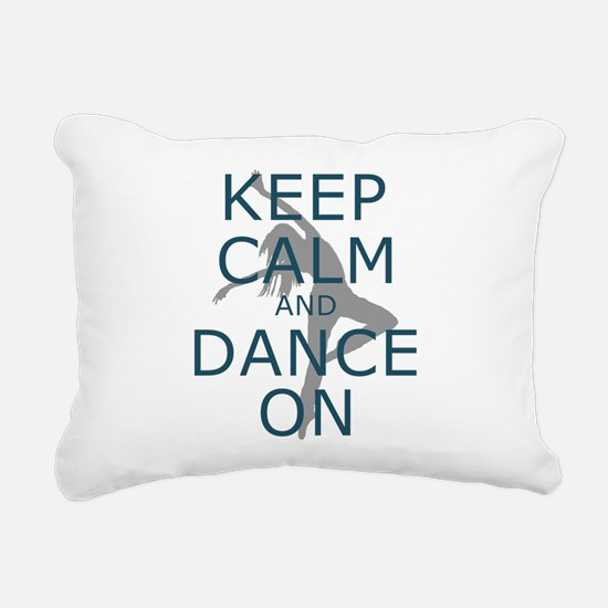 Keep Calm and Dance On Teal Rectangular Canvas Pil