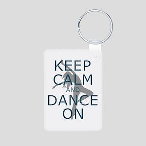 Keep Calm and Dance On Teal Keychains