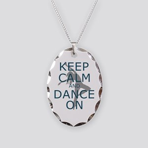 Keep Calm And Dance On Teal Necklace Oval Charm