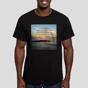 ROMANS 8:28 Men's Fitted T-Shirt (dark)