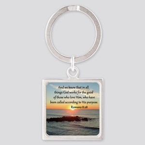 ROMANS 8:28 Square Keychain