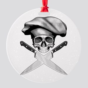 Chef skull: v2 Round Ornament
