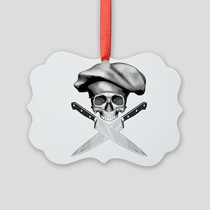 Chef skull: v2 Picture Ornament
