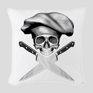 Chef skull: v2 Woven Throw Pillow