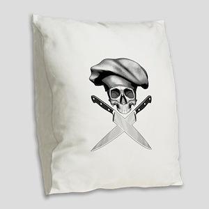 Chef skull: v2 Burlap Throw Pillow