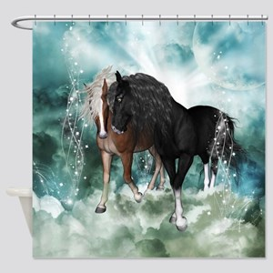 Wonderful couple horses in the sky Shower Curtain