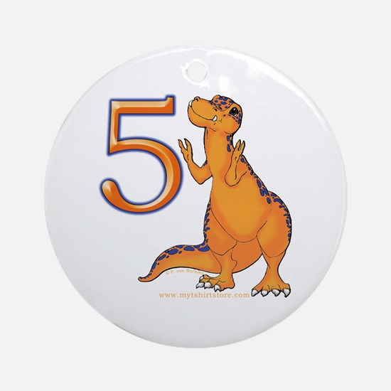 Kids Dino 5th Birthday Gifts Ornament (Round)