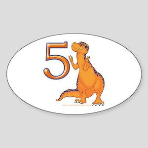 Kids Dino 5th Birthday Gifts Oval Sticker