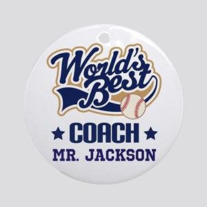 Personalized Baseball Coach Gift Ornament (Round)