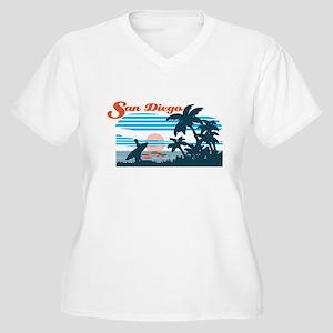 Retro San Diego Surf Plus Size T-Shirt