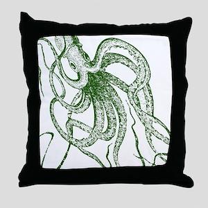 Dark green Vintage Wood cut Octopus Throw Pillow
