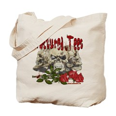 Fractured Tees Skull and Rose Tote Bag