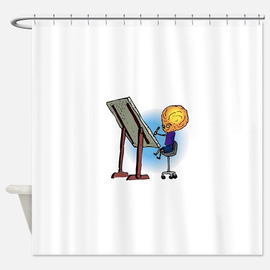 Brother Alien Artist Drawing Shower Curtain