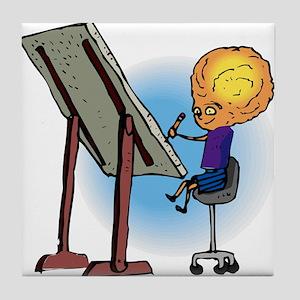 Brother Alien Artist Drawing Tile Coaster