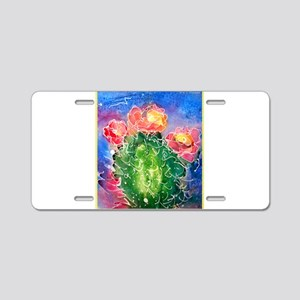 Pink cactus, southwest art Aluminum License Plate