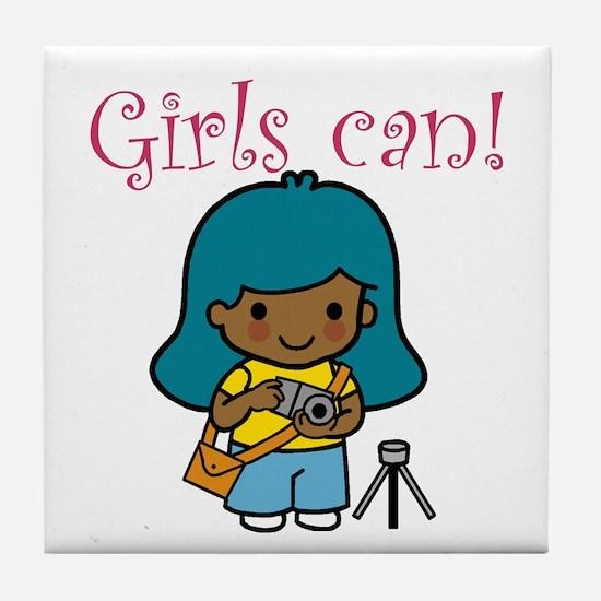 Girl Photographer Tile Coaster