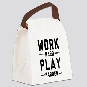 Work Hard Play Harder Canvas Lunch Bag