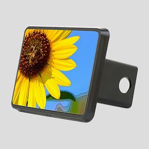 Sunflower and Honeybee Rectangular Hitch Cover