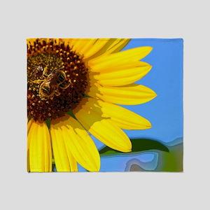 Sunflower and Honeybee Throw Blanket