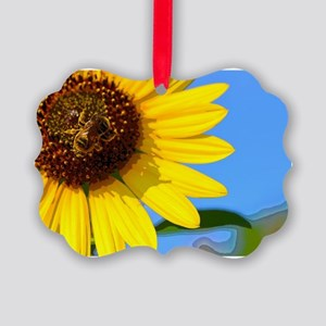 Sunflower and Honeybee Picture Ornament
