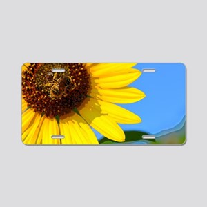 Sunflower and Honeybee Aluminum License Plate