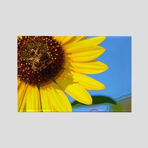Sunflower and Honeybee Rectangle Magnet