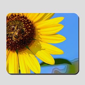 Sunflower and Honeybee Mousepad