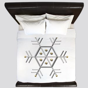 Silver and Gold Snowflake King Duvet