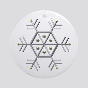 Silver and Gold Snowflake Ornament (Round)