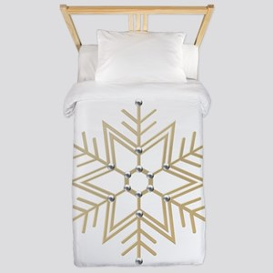 Gold and Silver Snowflake Twin Duvet