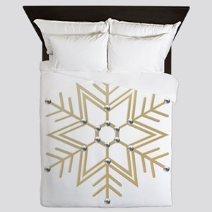 Gold and Silver Snowflake Queen Duvet
