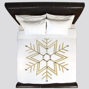 Gold and Silver Snowflake King Duvet